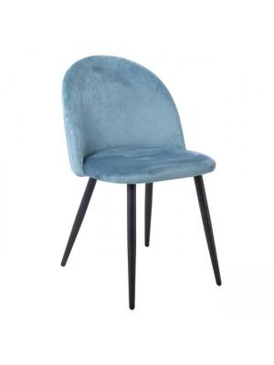 Стол BELLA плюшен петролен цвят с черни крака ΕΜ759,3