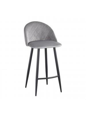 Бар стол BELLA с черни крака и сива плюшена дамаска ΕΜ758,2