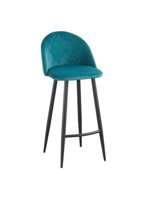Бар стол BELLA с петролена плюшена дамаска и черни крака ΕΜ758,3