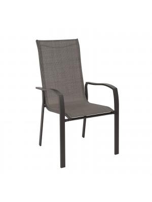 Трапезен стол VERONA кафяв метален с текстилна дамаска Ε273,1