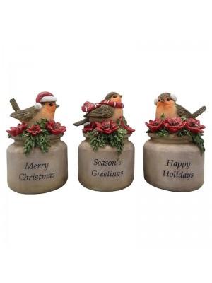 Коледна декорация с птичета сет 3бр