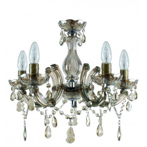Полилей от плексиглас(акрил) и стъкло с пет лампи като свещи