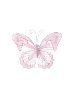 Декорация пеперуда с щипка 18x15cm розова