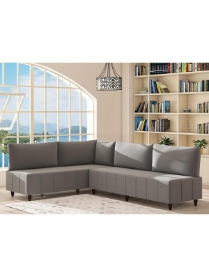 Ъглов диван сив текстил